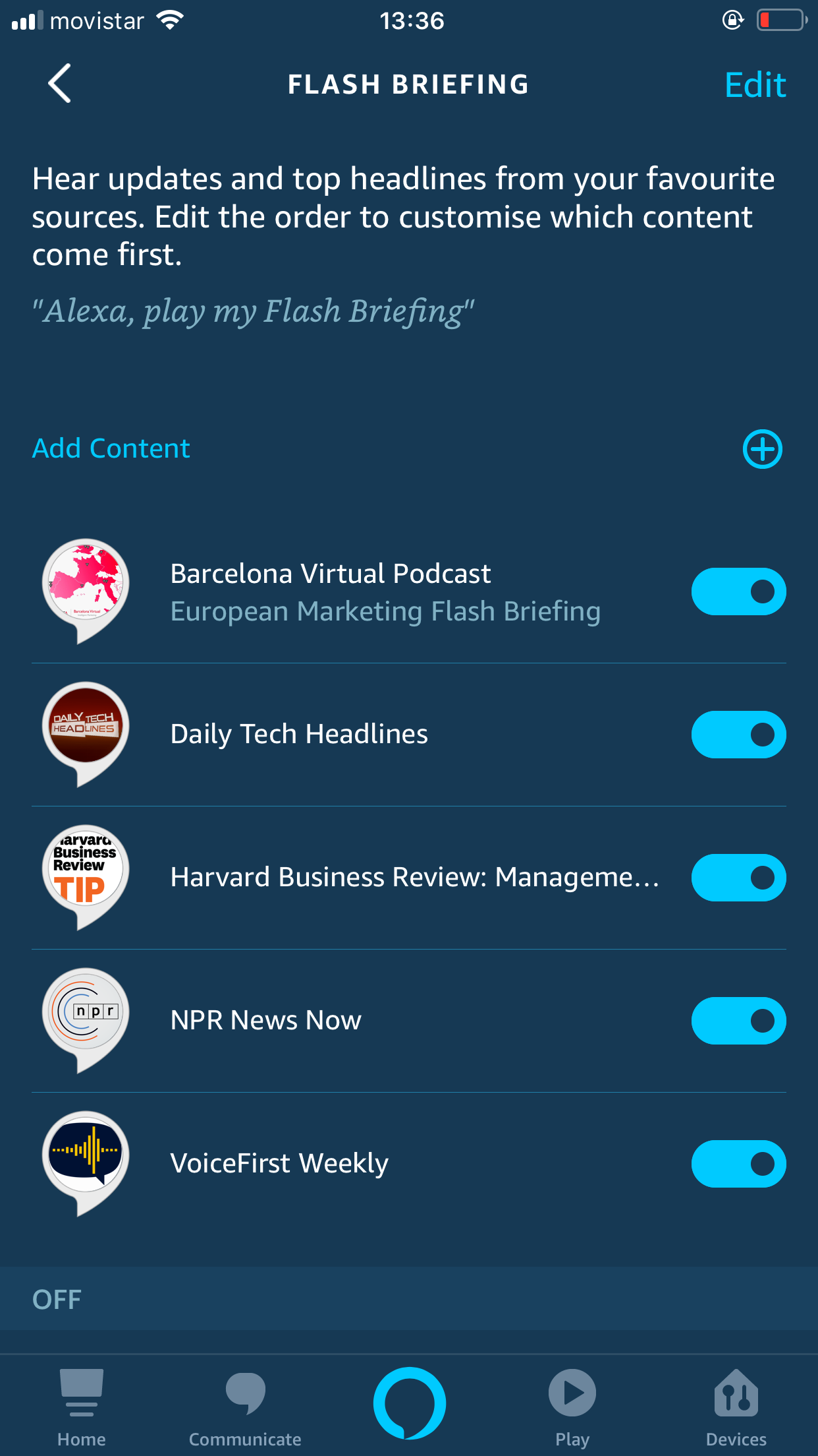 Screenshot from the Amazon Alexa mobile app